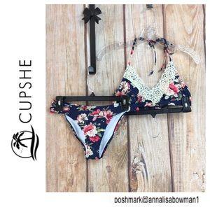 💸NWT Cupshe Blue Floral w/Lace accent Bikini S